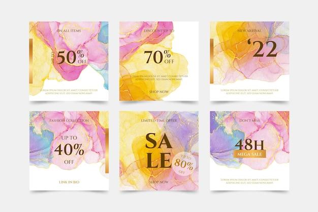 Collection de publications instagram de vente d'aquarelle