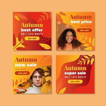 Collection de publications instagram de vente d'automne dégradée avec photo