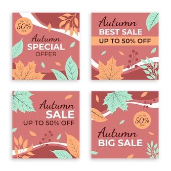 Collection de publications instagram de vente d'automne dessinée à la main