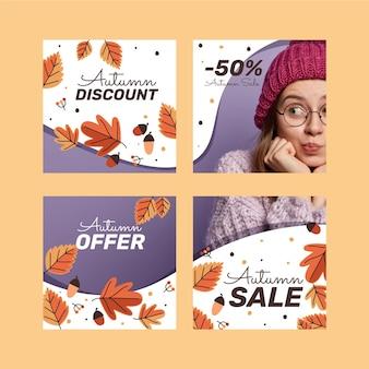 Collection de publications instagram de vente d'automne plat avec photo