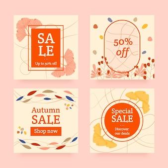 Collection de publications instagram de vente d'automne