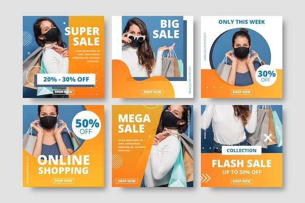Collection de publications instagram de vente dégradée avec photo
