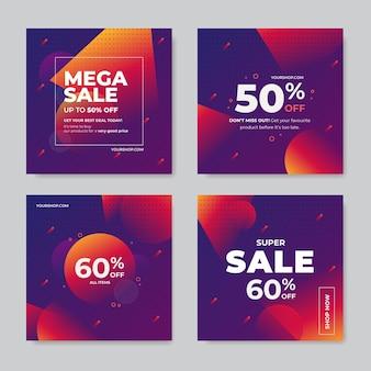 Collection de publications instagram de vente dégradée