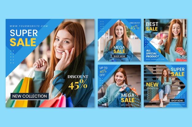 Collection de publications instagram vente design plat avec photo