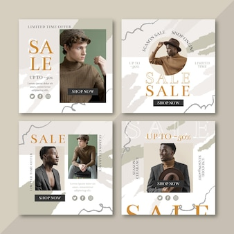 Collection de publications instagram vente design plat