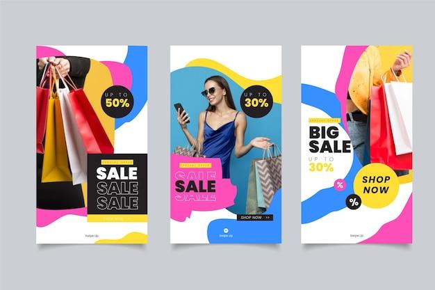 Collection de publications instagram de vente dessinée à la main avec photo