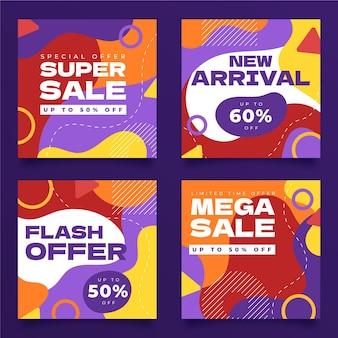 Collection de publications instagram de vente dessinée à la main