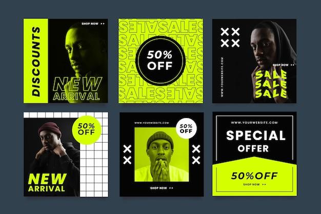 Collection de publications instagram de vente à plat avec photo