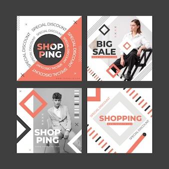 Collection de publications instagram de vente à plat