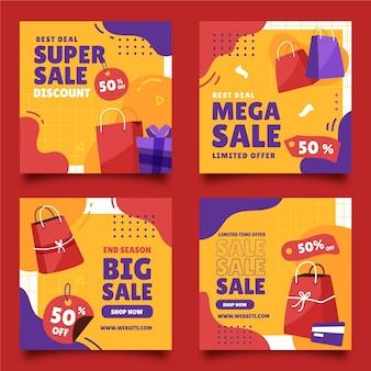 Collection de publications instagram de vente plate dessinée à la main