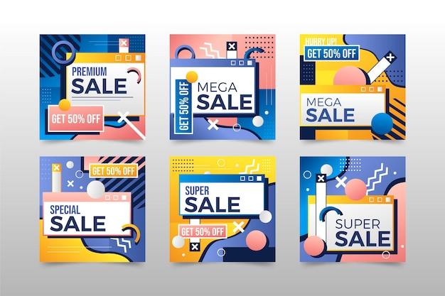 Collection de publications instagram de vente de style dégradé