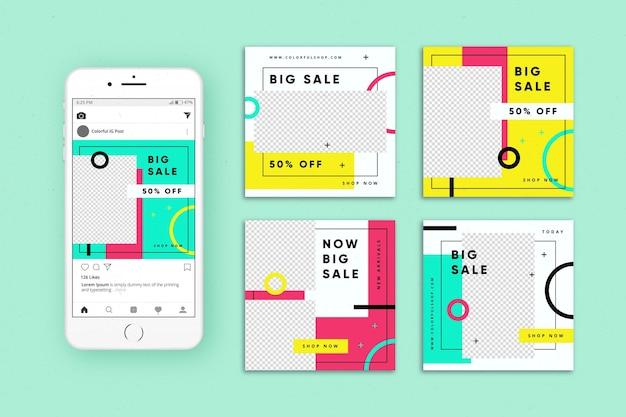 Collection de publications instagram de ventes colorées