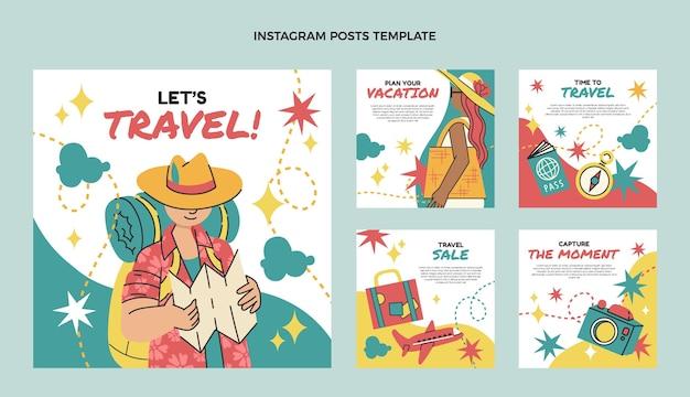 Collection de publications instagram de voyage design plat