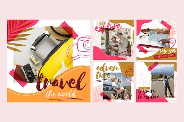 Collection de publications instagram de voyage dessiné