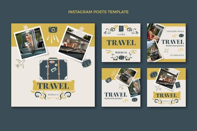 Collection de publications instagram de voyage dessinées à la main