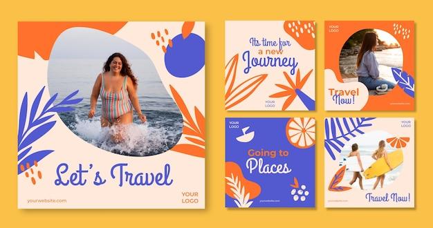 Collection de publications instagram de voyage dessinés à la main