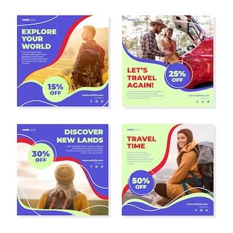 Collection de publications instagram de voyage plat
