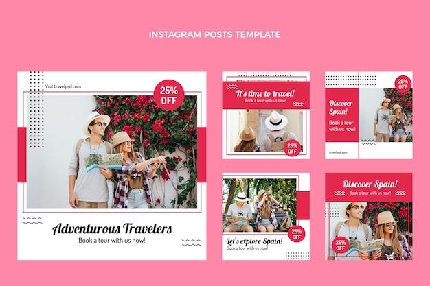 Collection de publications instagram de voyage à plat
