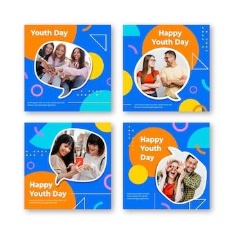 Collection de publications de la journée internationale de la jeunesse en dégradé avec photo