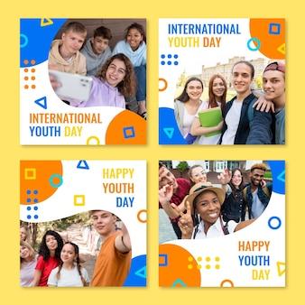 Collection de publications de la journée internationale de la jeunesse dessinée à la main avec photo