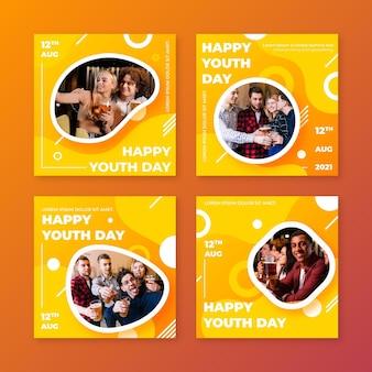 Collection de publications de la journée internationale de la jeunesse avec photo