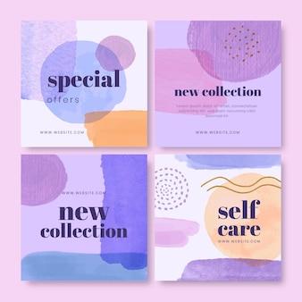 Collection de publications sur les médias sociaux à l'aquarelle abstraite