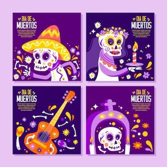 Collection de publications sur les médias sociaux dia de muertos