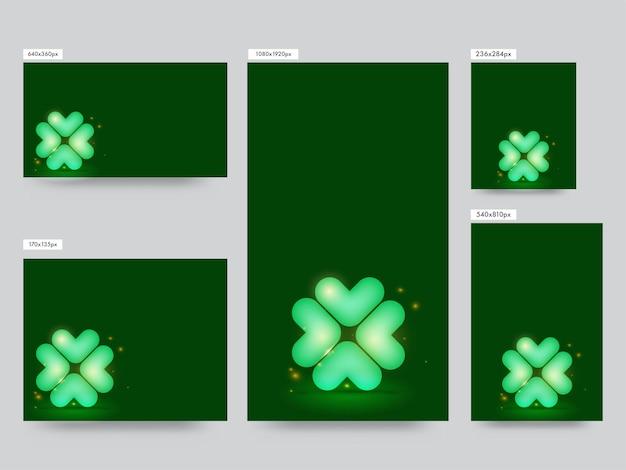 Collection de publications de médias sociaux avec effet de feuille et de lumières de trèfle en forme de ballon
