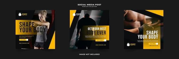 Collection de publications sur les médias sociaux de fitness gym