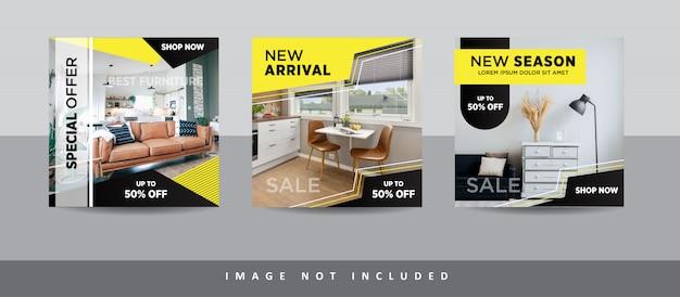 Collection de publications sur les médias sociaux de meubles modernes pour instagram
