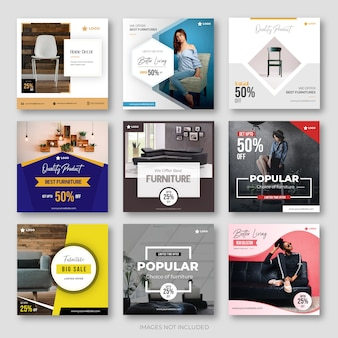 Collection de publications de médias sociaux de meubles modernes pour instagram