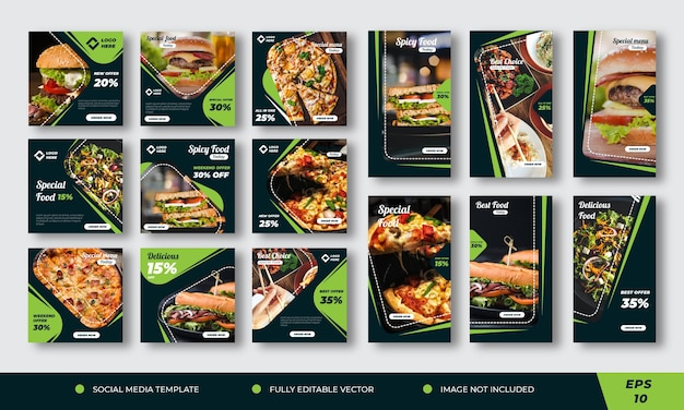 Collection de publications sur les réseaux sociaux alimentaires premium
