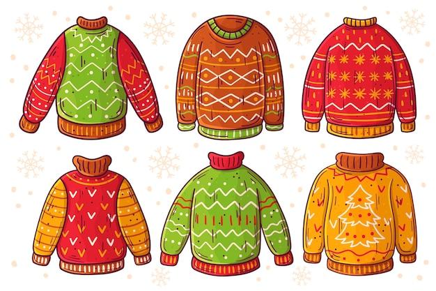 Collection de pulls moche dessinés à la main