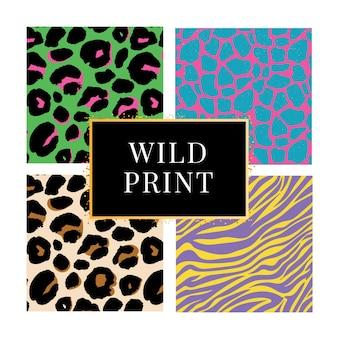 Collection de quatre arrière-plans imprimés animaux sauvages différents