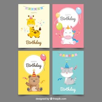 Collection de quatre cartes d'anniversaire