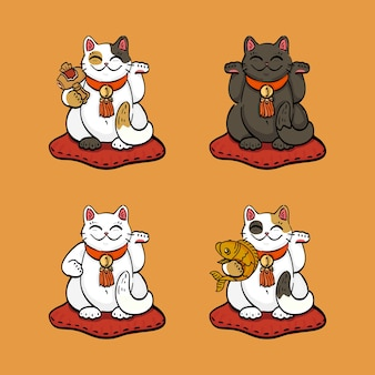 Collection de quatre chats chanceux (maneki neko) dessinés dans des poses différentes