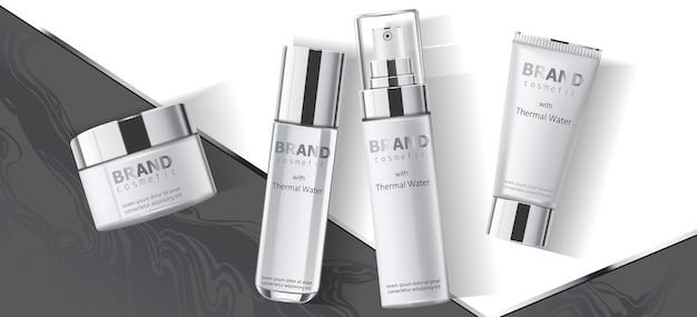 Collection de quatre contenants de cosmétiques, eau thermale. place pour le texte. réaliste