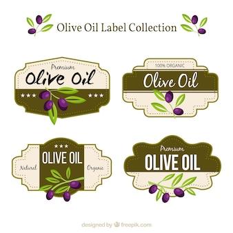 Collection de quatre étiquettes d'huile d'olive avec des détails pourpre