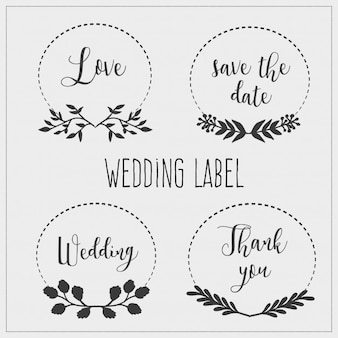 Collection de quatre étiquettes de mariage