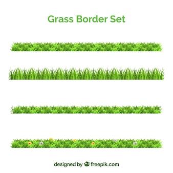 Collection de quatre frontières d'herbe fantastique