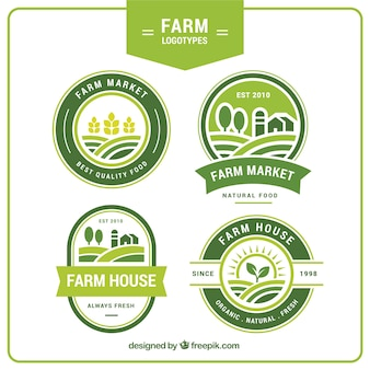 Collection de quatre logos agricoles verts
