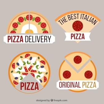 Collection de quatre logos de pizza à plat