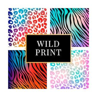 Une collection de quatre motifs colorés imprimés animaux sauvages différents