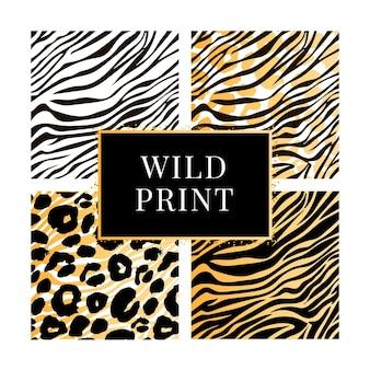 Une collection de quatre motifs imprimés animaux sauvages différents