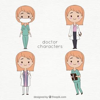 Collection de quatre personnages de femme médecin