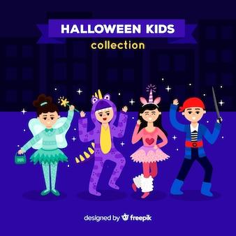 Collection de quatre personnages pour enfants halloween