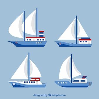 Collection de quatre voiliers en conception plate