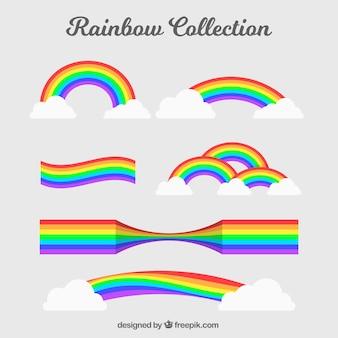 Collection de rainbows avec différentes formes en syle plat