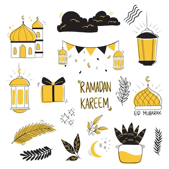 Collection ramadan kareem avec style de dessin à la main