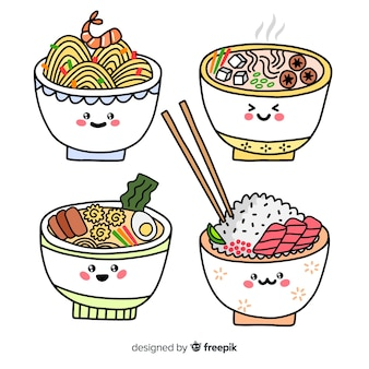 Collection de ramen adorables dessinés à la main